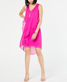 I.N.C. High-Low Flutter Necklace Dress, Created fo
