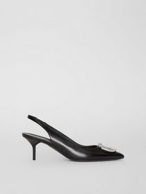 Burberry The Leather D-ring Slingback Pump in Blac
