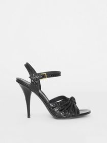 Burberry Knot Detail Embossed Leather Sandals in B
