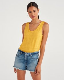 7 For All Mankind Scoop Neck Tank in Dandelion