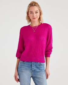 7 For All Mankind Open Weave Sweater in Electric P
