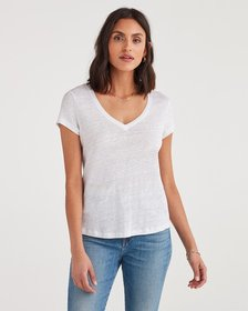 7 For All Mankind V-Neck Tee in Optic White