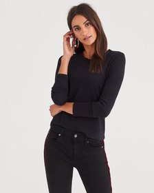 7 For All Mankind Baby Long Sleeve Tee in Black