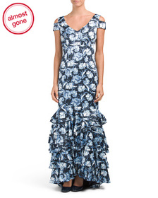 KAY UNGER Floral Printed Charmeuse Gown