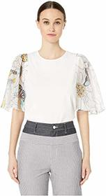 See by Chloe Flutter Sleeve Printed Crew Neck Top
