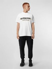 Burberry Double Logo Print Cotton T-shirt in White