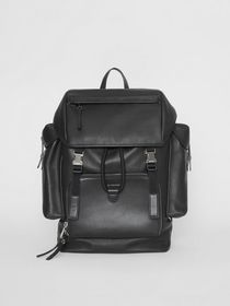 Burberry Grainy Leather Backpack in Black
