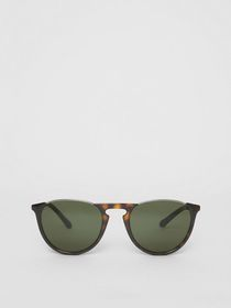 Burberry Keyhole Pilot Round Frame Sunglasses in T