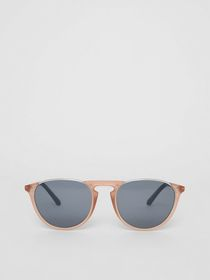 Burberry Keyhole Pilot Round Frame Sunglasses in N
