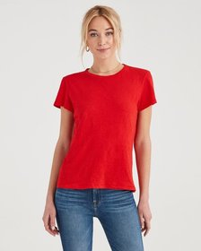 7 For All Mankind Slub Baby Tee in Bright Red
