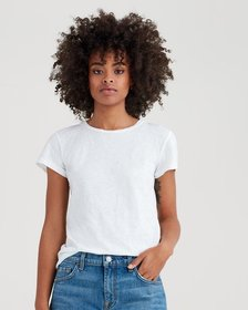 7 For All Mankind Short Sleeve Slub Basic Tee in W