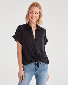 7 For All Mankind Tie Front Short Sleeve Shirt in