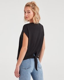 7 For All Mankind Tie Back Tee in Jet Black