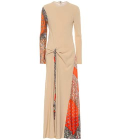 Chloé Crêpe and silk-twill maxi dress