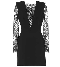 Alexander McQueen Lace-paneled wool-blend minidres