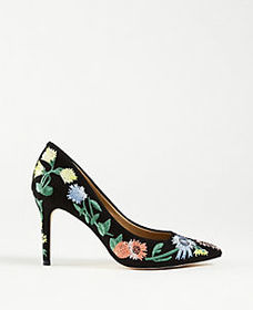 Kit Garden Embroidered Suede Pumps