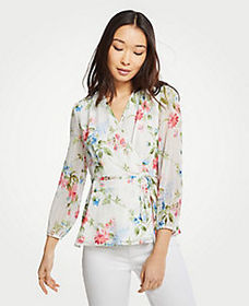Tall Floral Wrap Blouse