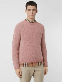 Burberry Rib Knit Cashmere Cotton Blend Sweater in