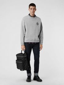 Burberry Embroidered Logo Jersey Sweatshirt in Pal