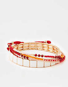 American Eagle AE Red 4-Pack Bracelet Arm Party