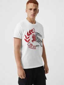 Burberry Contrast Crest Cotton T-shirt in White