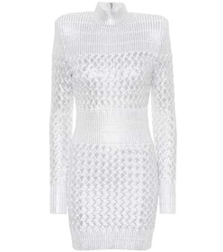 Balmain Knitted metallic minidress