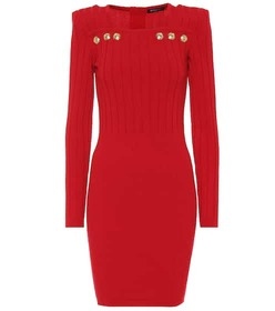 Balmain Embellished stretch knit minidress