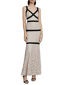 BCBGMAXAZRIA Sleeveless Banded Lace Gown BARE