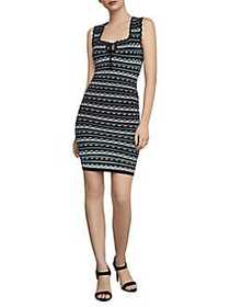 BCBGMAXAZRIA Dotted Stripe Bodycon Dress BLACK COM