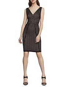 BCBGMAXAZRIA Striped Lace Sheath Dress BLACK