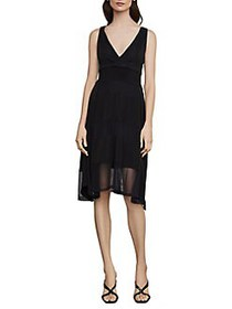 BCBGMAXAZRIA Striped Mesh Faux Wrap Dress BLACK