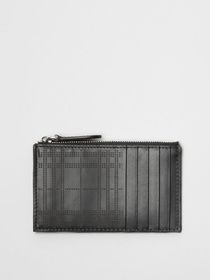 Burberry Perforated Check Leather Zip Card Case in