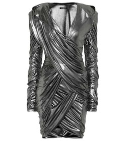 Balmain Hooded lamé minidress