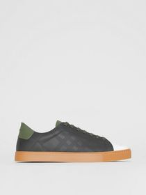 Burberry Perforated Check Leather Sneakers in Blac