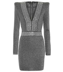Balmain Embellished metallic minidress