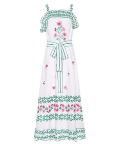 Gül Hürgel Floral-embroidered linen dress