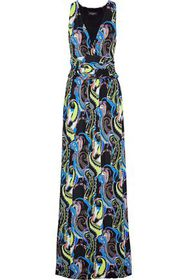 ETRO Belted printed stretch-crepe maxi dress