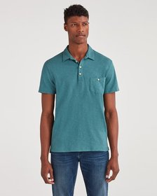 7 For All Mankind Boxer Four Button Polo in Spruce