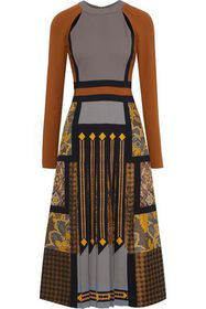 ETRO Cutout pleated printed crepe and jacquard mid
