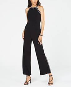 I.N.C. Contrast-Piping Halter Jumpsuit, Created fo