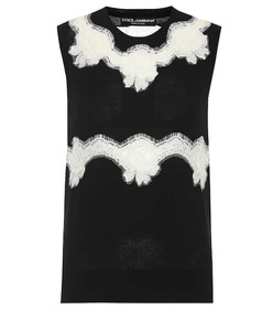 Dolce & Gabbana Lace-trimmed wool-blend top