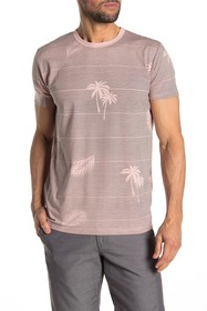 Ben Sherman Palm Print Striped T-Shirt