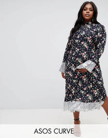 ASOS DESIGN Curve ditsy print midi dress with long