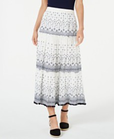 Style & Co Printed Pom Pom Maxi Skirt, Created for