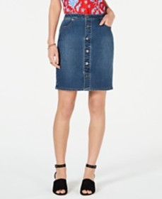 Style & Co Button-Front Denim Skirt, Created for M