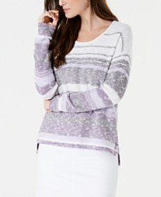 Style & Co Striped Drop-Shoulder Sweater, Created