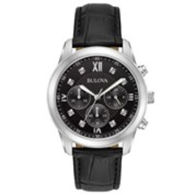 BULOVA Bulova Mens Diamond Chronograph Leather Wat