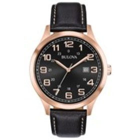 BULOVA Bulova Mens Black Dial Rose Gold Leather Wa