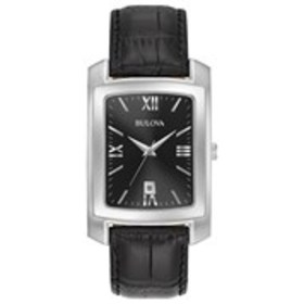 BULOVA Bulova Mens Black Dial Silver Oblong Leathe