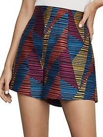 BCBGMAXAZRIA Geo-Print Striped Shorts BLACK COMBO